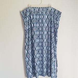 plus size Blue and white maxi skirt